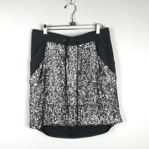 Ann Taylor Grey Sequin Front Jersey Skirt S
